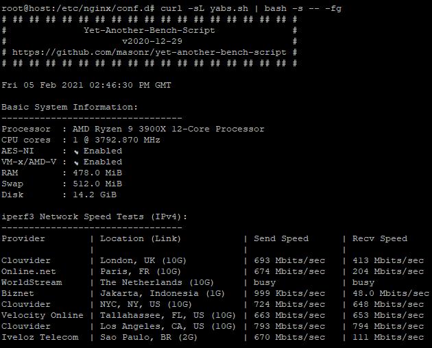 spesifikasi vps untuk benchmark